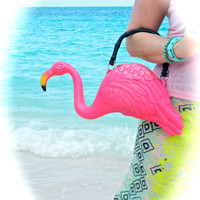 Pink Flamingo Purse - Black handle
