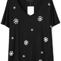 Black V-Neckline Floral Beads Embellished Shirt