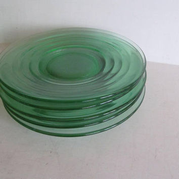 "5 Green Depression Glass Plates Depression Glass Bread Plates 6"" Green Uranium Glass Plates Set of Green Plates"