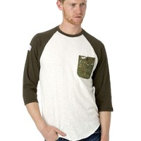 Under Two Flags Surf Print Baseball Tee