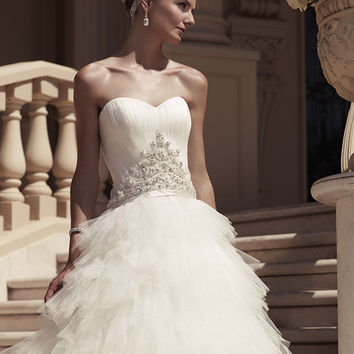 Casablanca Bridal 2114 Strapless Tulle Ruffle Ball Gown Wedding Dress
