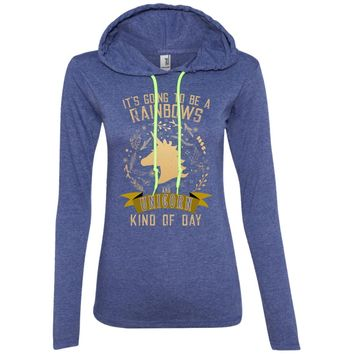 It's Going to be a Rainbows and Unicorns 887L Anvil Ladies' LS T-Shirt Hoodie