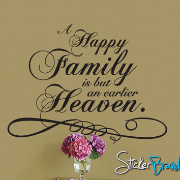 Vinyl Wall Lettering Decal A Happy Family Heaven #P106