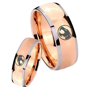 His Hers Rose Gold Dome Thundercats Two Tone Tungsten Wedding Rings Set