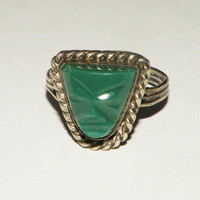 Vintage Galindo Sterling and Green Jade Mask Ring size 7