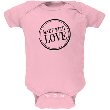 Valentine's Day - Made With Love Light Pink Soft Baby One Piece
