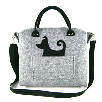 Shoulder bag Dog handbag Felt purse Bag for women Grey bag Big bag Felt bag Designer handbag Felt shoulder bag Modern