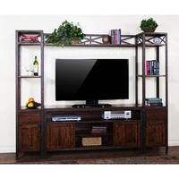 Sunny Designs Crosswinds Entertainment Center In Weathered Mocha