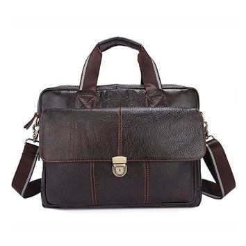 15 Inch Fashion Laptop Bag Men's Genuine Leather Briefcase Men Travel Business Bag Office Documents Bags