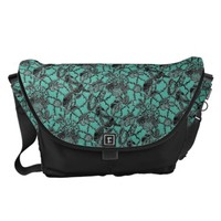Teal and Black Lace Print Messenger Bag