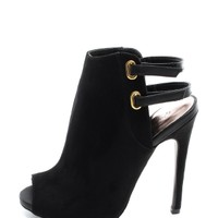 Black Glee Club Peep Toe Booties | $10.00 | Cheap Trendy Boots Chic Discount Fashion for Women | Mo