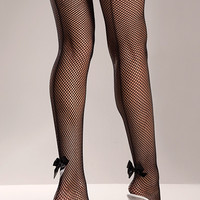Back Bow Fishnet Thigh Highs