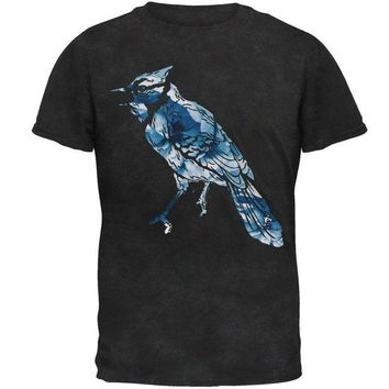 LMFCY8 Spring Flowers Blue Jay Bird Mens Soft T Shirt