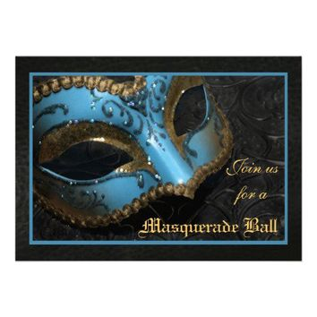 Teal Mask Masquerade Ball Halloween Invitation from TheInspiredEdge.com