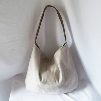 Silver Ultra Suede Hobo handbag  Animal Friendly Suede by ACAmour