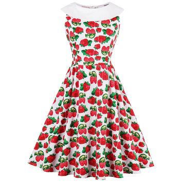 Chicloth red sweet strawberry and white collar vintage dress