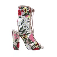 Floral Embroidered Open Toe Lace Up Bootie Heel