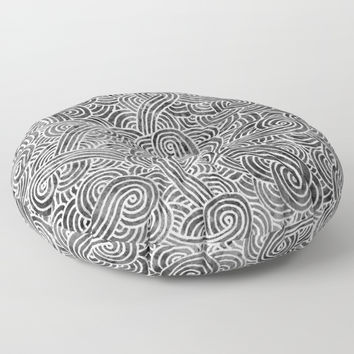 Grey and white swirls doodles Floor Pillow by Savousepate