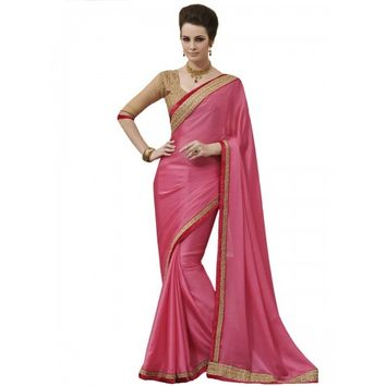 Chiffon Border & Zari Work Pink Plain Saree - STY1