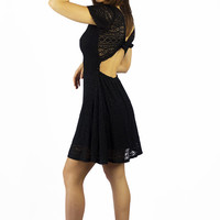 Vintage Havana Black Crochet Tie Back Dress