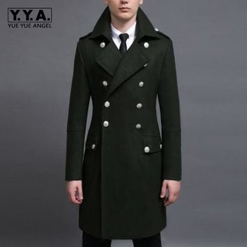 2017 Spring New Arrival Fashion Mens Double Breasted Long Wool Blend Coats Male Military Long Jackets Outwears Parkas Army
