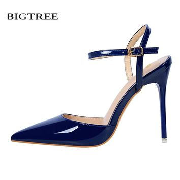 BIGTREE Summer Sexy Sandals Thin Heel Ankle Strap High Heels Sandal Europe Shallow Patent Leather Woman's Sandals G86-1