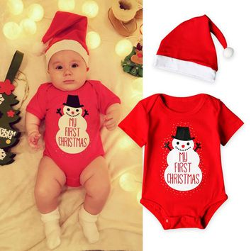 901e9a876be My First Christmas Baby Boys Romper Casual Baby Girls Clothes Ne