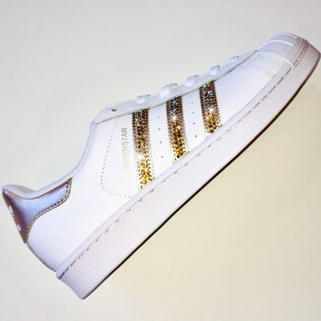 Bling Adidas with Swarovski Crystals * Women's Original Superstar Shoes Bedazzled w/ GOLD Swarovski Crystal Rhinestones