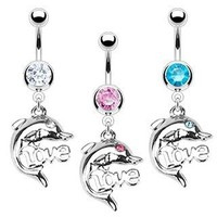 SBJ-0012 316L Surgical Steel Dolphin 'LOVE' Navel Ring with CZ