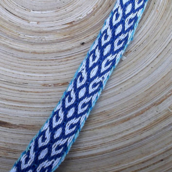 weaving woven bracelet, patterned blue white friendship bracelet weave tribal ethnic wrist band, colorful boho unisex jewelry hipster hippie