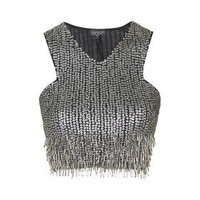Sequin Fringed Crop Top - Black