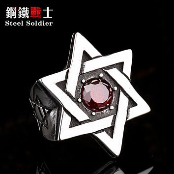 star of david stainless steel Ring Super High Quality Fashion hot sale stone men jewelry