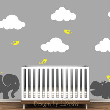 Nursery Wall Decal Featuring Jungle Animals, Birds, and Clouds
