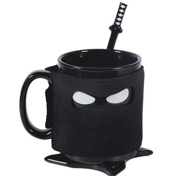 Creative Ninja Mug Black Mask Ceramic Cup With Spoon Sword Coffee Milk Tea Mugs Novelty Gifts
