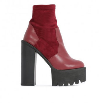 Sock Fit Cleated Ankle Boots Red