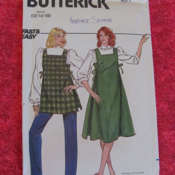 Sale Uncut Late 60's Early 70's Butterick Sewing Pattern, 4571! Sizes 12-16, Medium to Large, Misses, Maternity Jumper, Top and Pants, Apron
