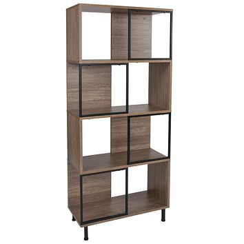 """Paterson Collection 26"""""""" x 58.75"""""""" Wood Grain Finish Bookshelf and Storage Cube"""