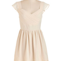 Mid-length Cap Sleeves A-line Let's Reminisce Dress in Cream