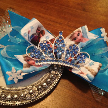 SALE!! Disney Frozen Bow -Headband, Disney Bow, Elsa Bow, Frozen Accessories, Frozen Hair Clip, Rhinestone Crown Bow, Frozen Birthday