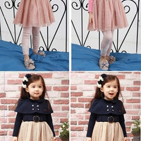 New Girls Party Dress Kids One-Piece Elegant Shawl Cape Skirt 18302|27701 Children's Clothing = 1958068292