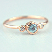 Rose Gold Aquamarine and Diamond Ring 14k Gold Natural Aquamarine Diamond Gold Ring Aquamarine Engagement Ring Size 6US