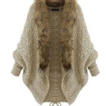 Three Season Batwing Fur Collar Cardigan Sweater