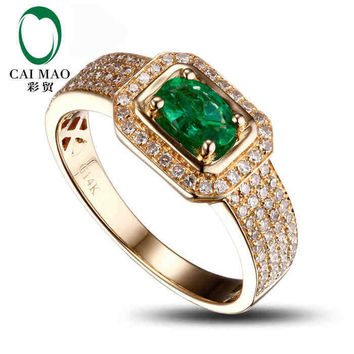 caimao 0.4ct natural emerald 18kt/750 yellow gold 0.35ct full cut diamond engagement ring  gemstone colombian