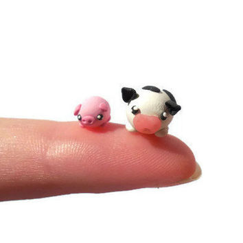Micro pig and cow sculpture, miniature figurines, kawaii polymer clay, terrarium figures