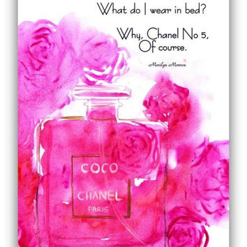 Chanel no 5, Perfume bottle roses, watercolor painting, fashion wall art, decal  decals, print, decor, girly room, Marilyn Monroe quotes