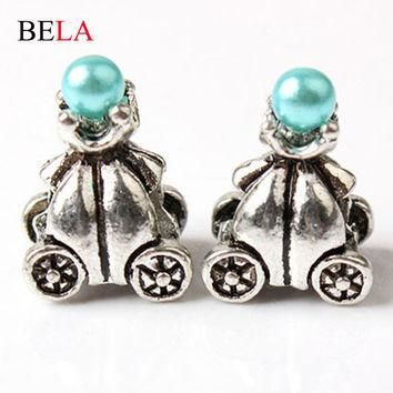 Cute Metal Silver Plated Big Hole Loose Beads charm For DIY Jewelry Fit For Pandora Br