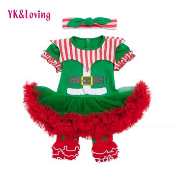 Newborn Santa Claus Romper Tutu Dress First Christmas Baby Clothing Girls 2018 New Year Party Dresses Infant Clothes 3pcs Set