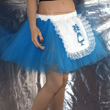 Turquoise Blue Embroidered Alice in Wonderland Costume TuTu all Sizes MTCoffinz