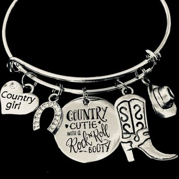 Country Cutie with a Rock N Roll Booty Adjustable Charm Bracelet Expandable Silver Bangle Country Girl Jewelry One Size Fits All Gift Cowboy Boots