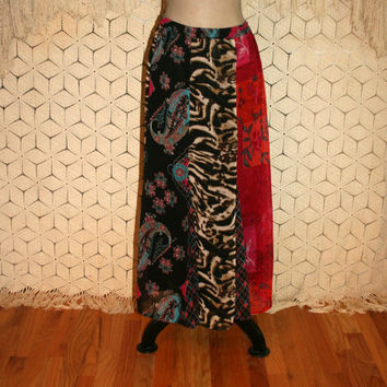 Plus Size Skirt Bohemian Patchwork Skirt Chiffon Maxi Skirt XL 2X Bohemian Clothing Long Skirt Animal Print Paisley Floral Womens Clothing